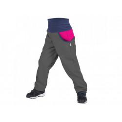 Unuo Softshellové kalhoty s fleecem DUO antracitové s fuchsiovou - vel. 128/134