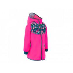Unuo Softshellový kabátek bez zateplení fuchsiová květinky - vel. 128/134
