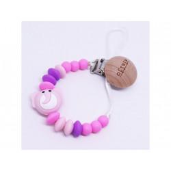 Mimijo klip na dudlík - Růžový slon