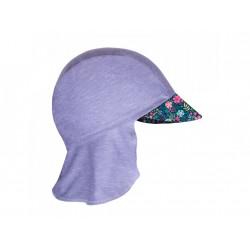 Unuo funkční čepice s kšiltem a plachetkou UV 50+ - Květinky, šedá XS
