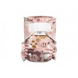 Breberky novorozenecká kalhotková plenka SZ - Kamarádky myška a želva, bílé patentky