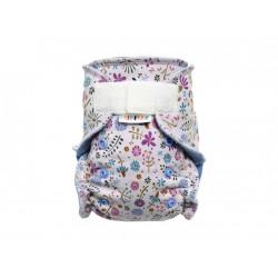 Breberky novorozenecká kalhotková plenka SZ - Kvítka, nebesky modrý velur