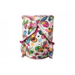Breberky novorozenecká kalhotková plenka SZ - Motýlci, růžový velur