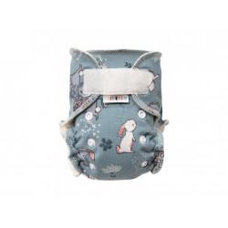 Breberky novorozenecká kalhotková plenka SZ - Zajíček ušáček šedý, bílé patentky