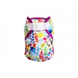 Breberky novorozenecké svrchní kalhotky SZ bez křidélek - Luční kvítí, fialová gumička