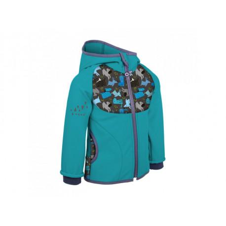 Unuo Softshellová bunda s fleecem vel. 74/80 - Smaragdová, Pejsci