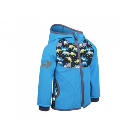 Unuo Softshellová bunda s fleecem vel. 74/80 - Autíčka tyrkysová