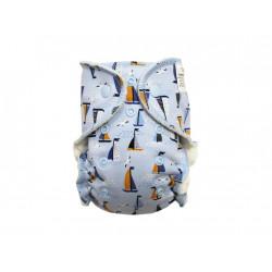 Breberky novorozenecká kalhotková plenka PAT - Racek a plachetnice na šedé