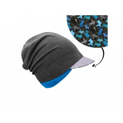 Unuo teplákovinová čepice spadená s reflexním štítem - Pejsci S (45 - 48 cm)