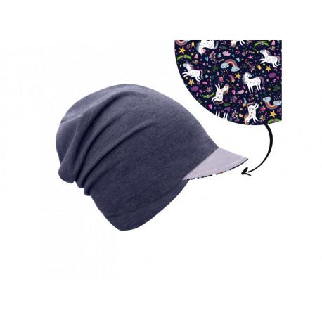 Unuo teplákovinová čepice spadená s reflexním štítem - Jednorožci S (45 - 48 cm)