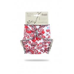 Novorozenecká plenka Petit Lulu na patentky - Ptáčci červená