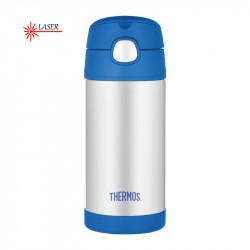 Thermos dětská termoska s brčkem modrá nerez - 355 ml