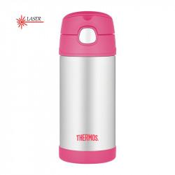 Thermos dětská termoska s brčkem růžová nerez - 355 ml
