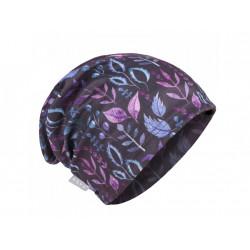 Unuo dámská čepice fleecová spadená dámská (56 - 58 cm) - lístečky