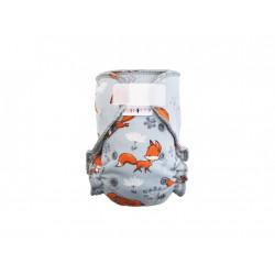 Breberky kalhotková plenka SZ - Lišky na šedé, šedý velur