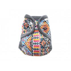 Breberky MINI svrchní kalhotky fleecový lem PAT - Indiánské ornamenty