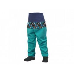 Unuo Softshellové batolecí kalhoty s fleecem vel. 92/98 SLIM - Pejsci smaragdová