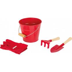 Small foot sada zahradního nářadí s kyblíčkem - červená