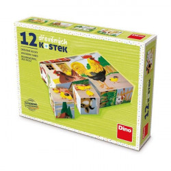 Dino dřevěné kostky - domácí zvířata 12 ks