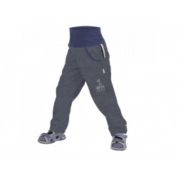 Unuo Dětské softshellové kalhoty bez zateplení - žíhaná antracitová