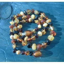 Jantarové korálky pro děti - leštěné míchané kuličky Majda