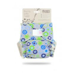 Kalhotková plena Petit Lulu na suchý zip - Hvězdy modro-zelená