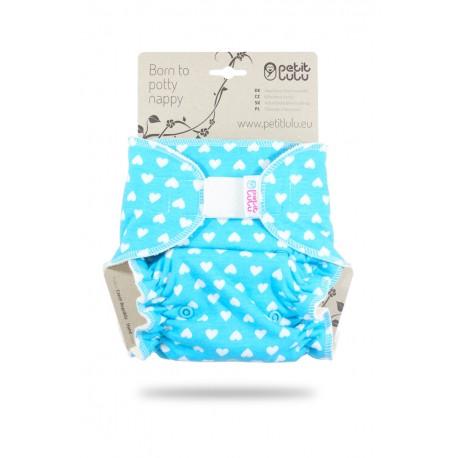 Kalhotková plena Petit Lulu na suchý zip - Srdíčka na modré