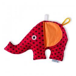 Slon Šapitó chrastítko - červený, černý puntík