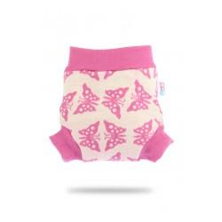 Vlněné svrchní kalhotky Petit Lulu - Růžoví motýlci S
