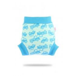Vlněné svrchní kalhotky Petit Lulu - Tyrkysová autíčka M