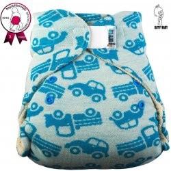Katyv Baby VLNĚNÉ svrchní kalhotky na suchý zip - modrá autíčka