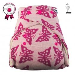 Katyv Baby VLNĚNÉ svrchní kalhotky na suchý zip - růžoví motýlci
