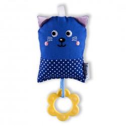 Šapitó Minikocourek chrastítko - tmavě modrý puntík