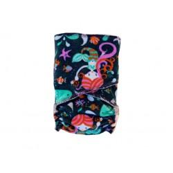 Breberky novorozenecká kalhotková plena na snappi - Mořská panna na zelené