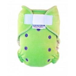 Kalhotková plena na suchý zip Breberky - Velur zelený růžové patentky