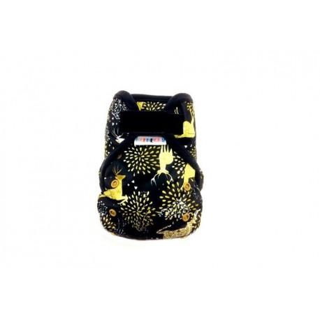 Novorozenecké svrchní kalhotky Breberky SZ - Zlatí jeleni černé lemování