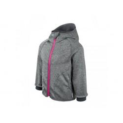 Unuo Softshellová bunda s fleecem - Šedý melír, růžový zip