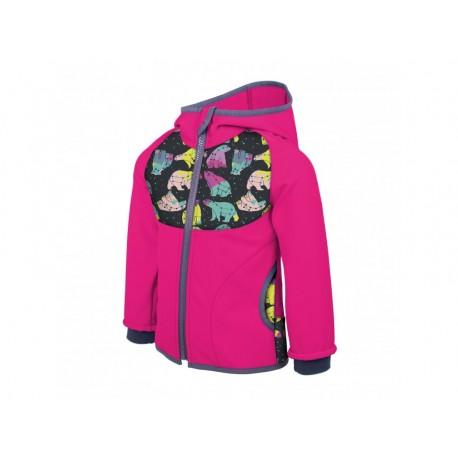Unuo Softshellová bunda s fleecem vel. 104/110 - Fuchsiová souhvězdí medvěda