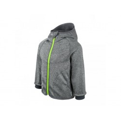 Unuo Softshellová bunda s fleecem - Šedý melír, limetkový zip