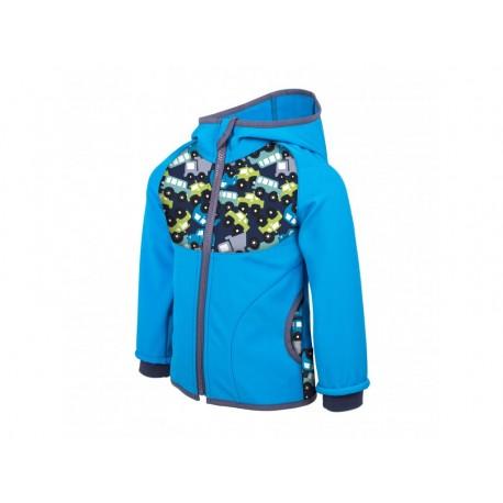 Unuo Softshellová bunda s fleecem vel. 80/86 - Autíčka tyrkysová
