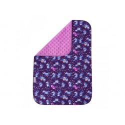 Unuo Přebalovací podložka PREMIUM Jednorožci minky fialový - Velká