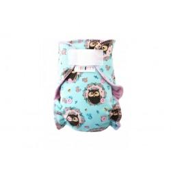 Breberky kalhotková plena na suchý zip - Sovičky v medailonku, růžový velur