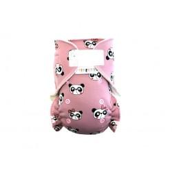 Breberky novorozenecká kalhotková plena na suchý zip -Pandy růžové