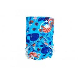 Novorozenecká kalhotková plena na snappi sponku Breberky - Mořská panna na modré