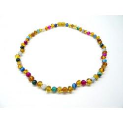 BM Jantarové korálky náhrdelník pro dospělé - Mnohobarevný achát 45 cm