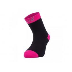 Unuo bambusové ponožky černé s fuchsiovou- vel. 24/27