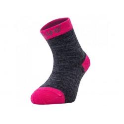 Unuo merino ponožky šedý melír s fuchsiovou - vel. 24/27