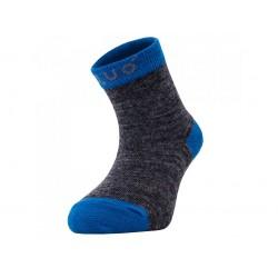 Unuo merino ponožky šedý melír s tyrkysovou - vel.  24/27