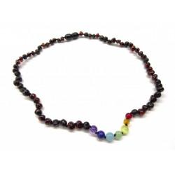 BM Jantarové korálky náhrdelník pro dospělé - čakrový s rubínovým jantarem