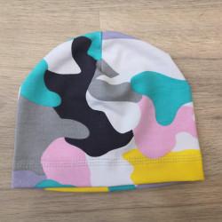 Tynka stylová čepice 40 - 42 cm - Růžový maskáč